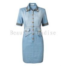 Jeans Dress Women 2016 Summer Fashion Beading Chain Turn-down Collar Slim Sheath Package Hip Blue Dress Denim Dress Saia 1141