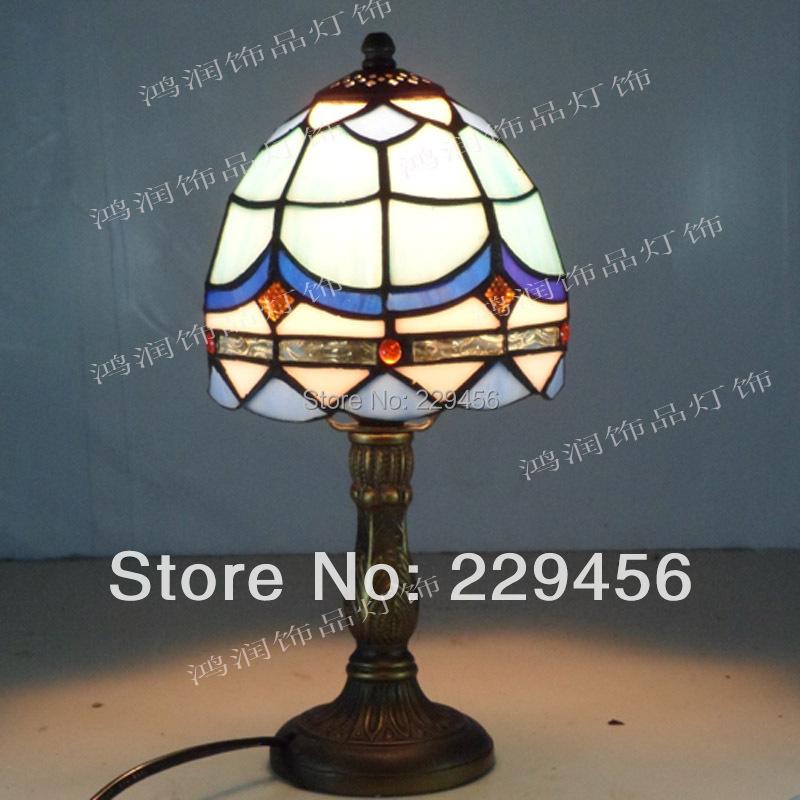 Small Tiffany Table Lamp Mediterranean Sea Stained Glass Lampshade Lamparas de Mesa E27 110-240V(China (Mainland))