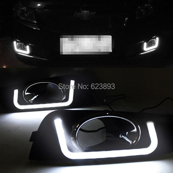 Free shipping,2x Bright White LED Daytime Day Fog Lights DRL Run lamp For Cruze 2011-2013(China (Mainland))