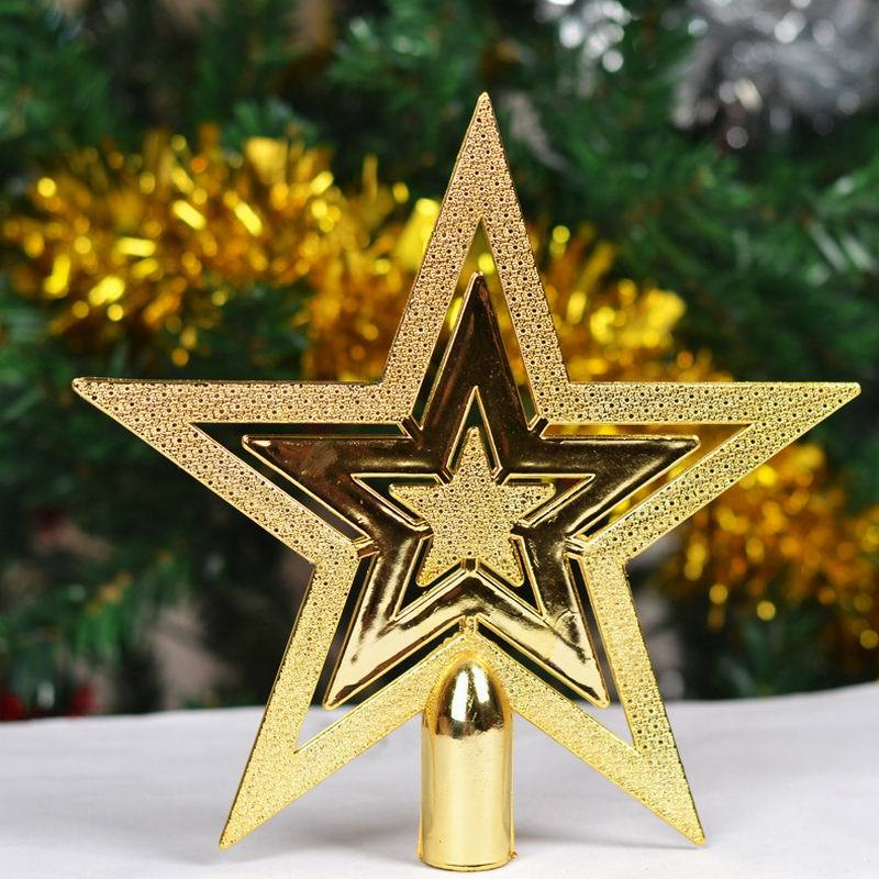 3Pcs/Lot Christmas Decoration Supplies Tree Yellow Five-Pointed Star New Year Home Decoration Free Shipping