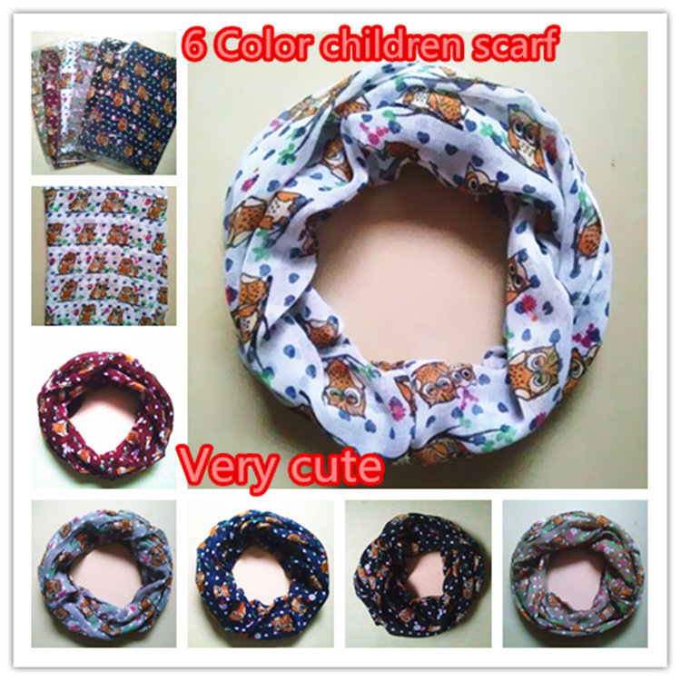 2015New Girl and Boy Children small owl Print Scarf Circle Loop Kids Infinity Scarves Baby Accessories flowers love neckerchief(China (Mainland))