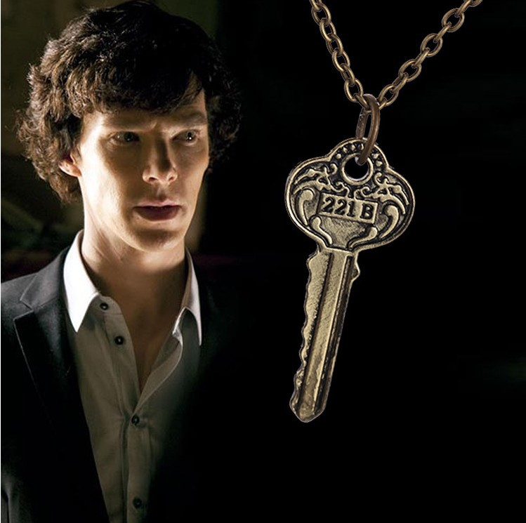 2015 New Arrival Sherlock 221b Apartment Keys Necklace Vintage Necklace Wholesale(China (Mainland))