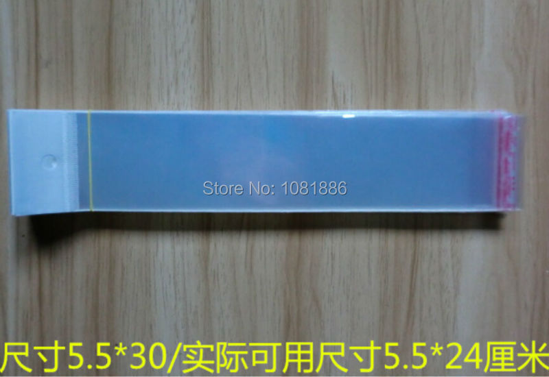 size 5.5*30cm Clear self ahdhesive plastic bags hair extension, long clear bags(China (Mainland))