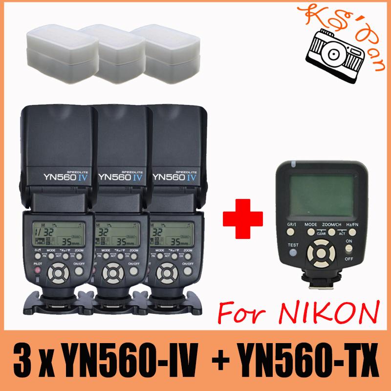 3x YONGNUO YN560 IV Master Radio Flash Speedlite + YN560-TX Wireless Flash Controller for Nikon DSLR Cameras