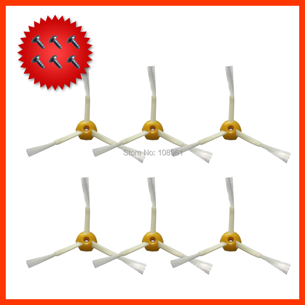 6 x Side Brush 3-armed+Screw For iRobot Roomba 500 600 700 Series 530-580 650 760 770 780 Vacuum Cleaning Robotic Accessory(China (Mainland))