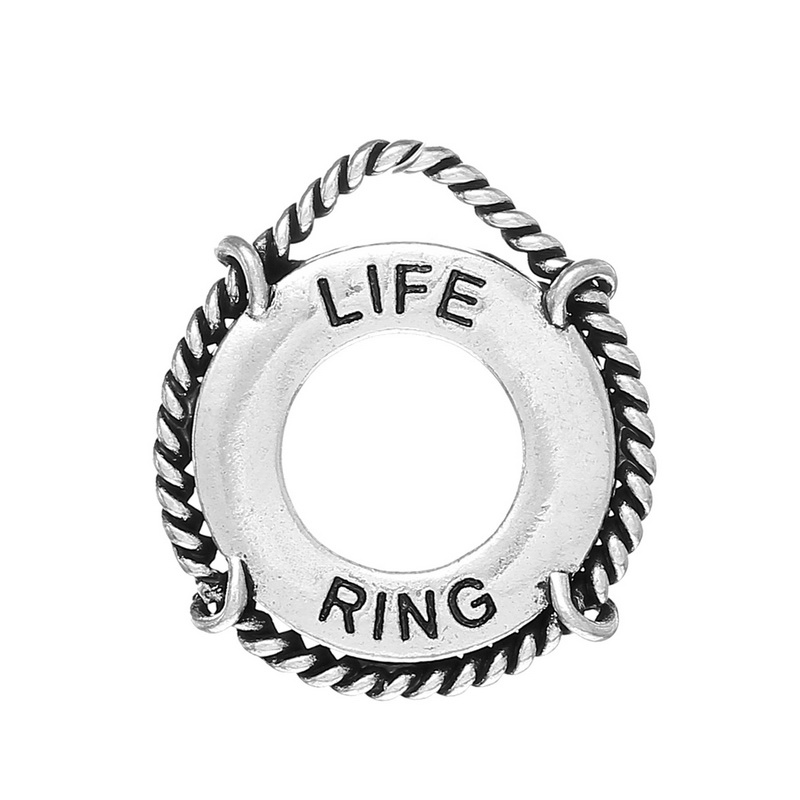 """2014 Trendy New 20PCs Pendants Cork Hoop """"LIFE RING"""" Carved Silver Tone 29x26mm Free Shipping(China (Mainland))"""