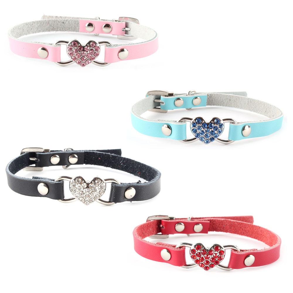 Cute Small Pets Dog Collars Puppy Love Heart Bling Crystal PU Leather Collar XS/S(China (Mainland))