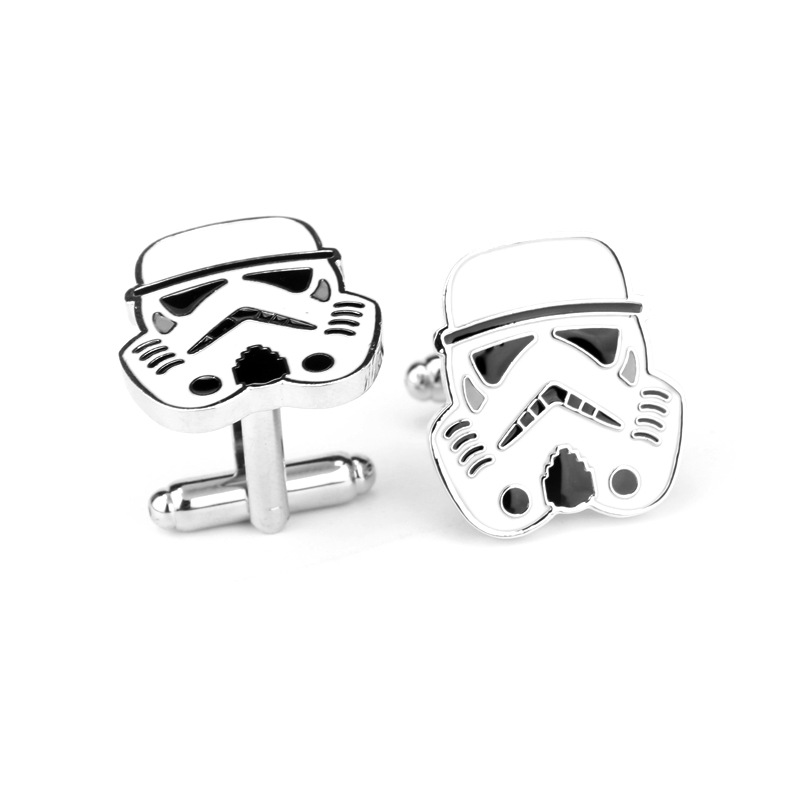 Star Wars Cufflinks Galactic Empire Imperial Stormtrooper Enamel Mask Shirt Brand Cuff Buttons Silver Plated Cuff Links 5D04(China (Mainland))