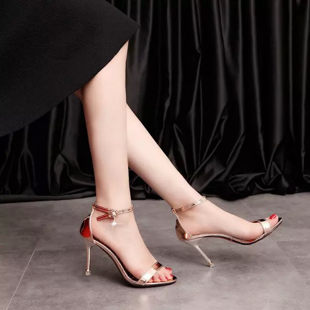 2016 summer fashion silver and gold ankle strap sandals open Toe high Heel Pumps girl sexy