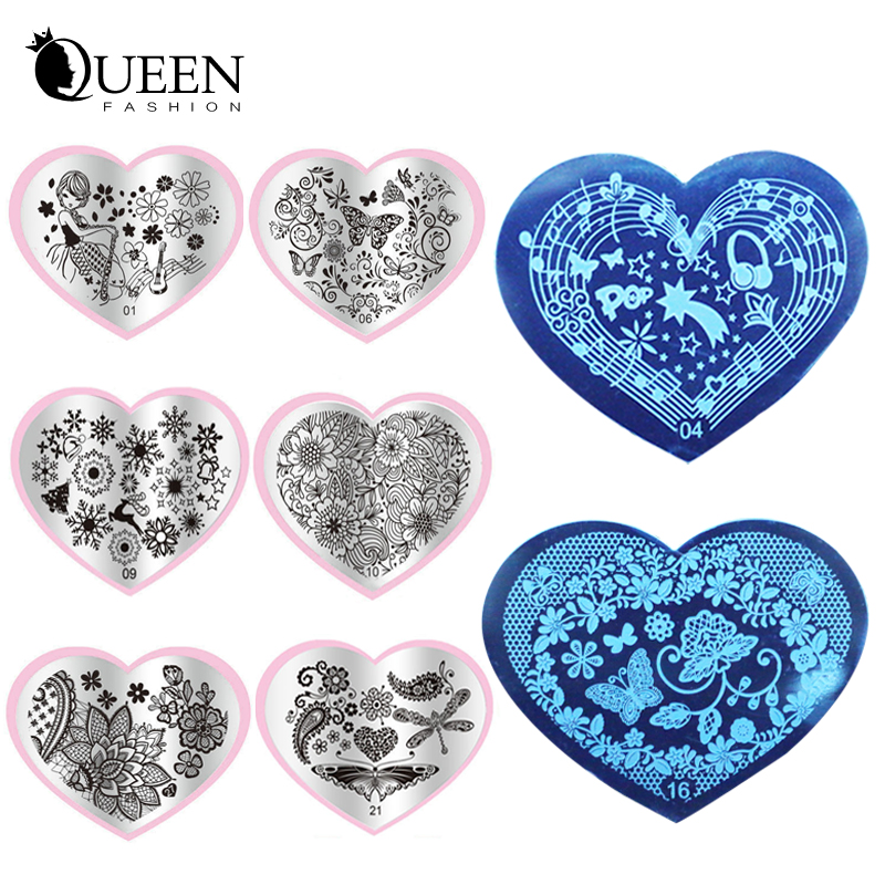 2016 New 6pcs Love Heart Shape Nail Art Stamping Plates Stainless Steel DIY Flower Christmas Nail Stamp Template(China (Mainland))