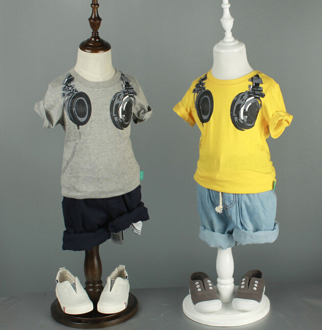 Boys Summer Style Cartoon Funny Earphone Short Sleeve font b Kids b font T Shirt Tees