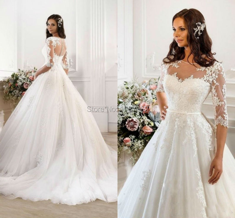 Plus Size Wedding Dresses 3 4 Sleeve : Vintage modest lace wedding dresses with sleeve