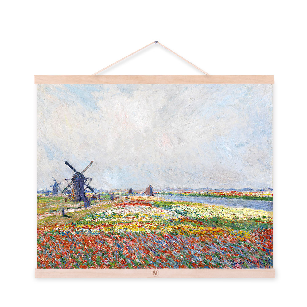 Claude Monet Impressionist Rural Landscape A4 Poster Prints Colorful Flowers Windmill Canvas Oil Paintings Home Wall Art Gifts(China (Mainland))