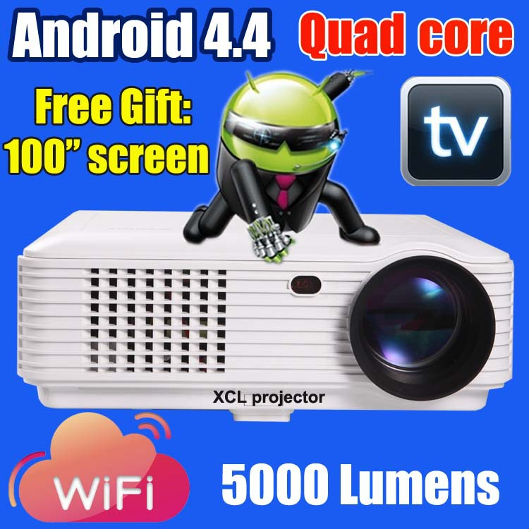5000 lumens smart Android 4.4 lcd tv led projector full hd accessories 1920x1080 3d home theater projetor video proyector beamer(China (Mainland))