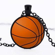 2018 darmowa wysyłka nowa moda koszykówka Baseball piłka nożna zdjęcie kryształ wisiorek szklany naszyjnik biżuteria(China)