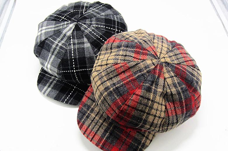 Fashion 2017 New Arrive Vintage Wool Cap Plaid Newsboy Caps For Women Painter Adult Hat Ladies High Quality