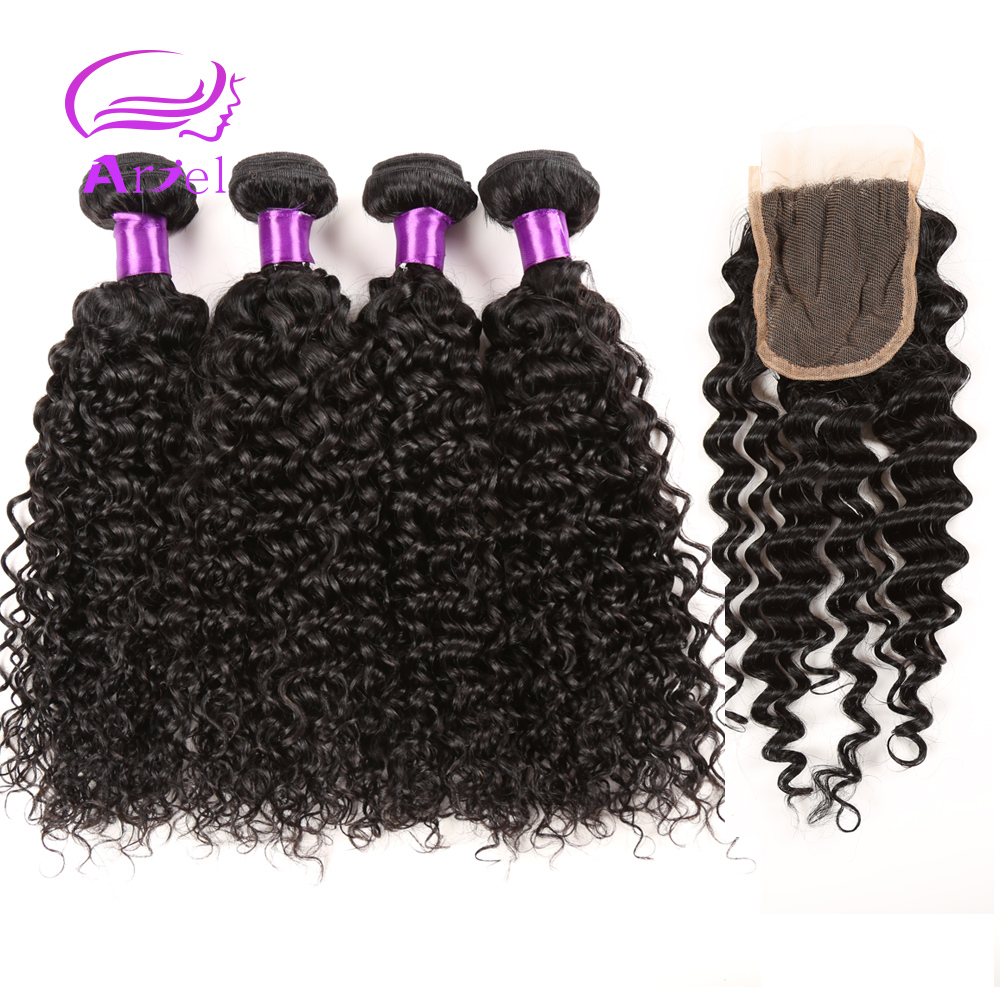 Brazilian Kinky Curly Virgin Hair With Closure 4 Bundles Virgin Curly Hair With Closure Brazilian Curly Virgin Hair With Closure