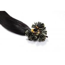 Jet Black #1 18″20″22″24″ 50G Natural Keratin Capsule Prebonded U/Nail Tip Remy Human Hair Extensions 100s/bag
