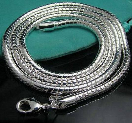 wholesale fashion jewelry 925 stamped silver plated jewelry necklace 3mm snake chain length 40-76cm men jewelry N285(China (Mainland))