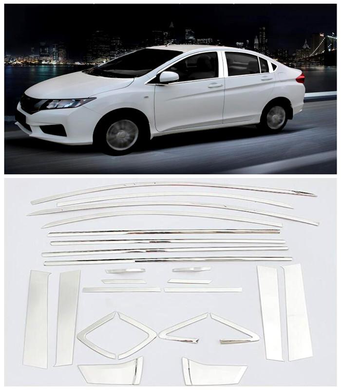 For Honda City 2014 2015 2016 Exterior Car Accessoires Stainless Steel Chrome Window Trim Full Chromium Styling 24pcs<br><br>Aliexpress
