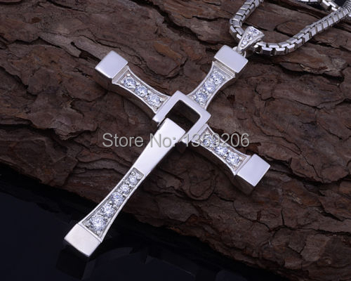 Hot Selling Fashion New Mens Silver Stylish Rhinestone Brave Cross Crystal Pendant Necklace - Anglelovebeauty store