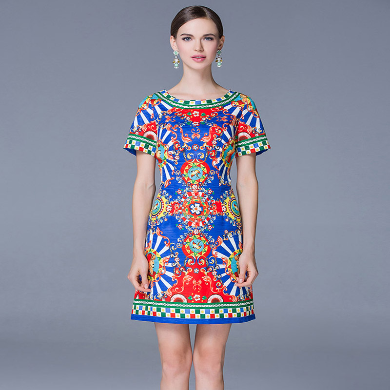 Brand Runway Dress New 2016 Summer Fashion Women Short Sleeve Sophisticated Wave Print Slim Package Hip Mini DressОдежда и ак�е��уары<br><br><br>Aliexpress