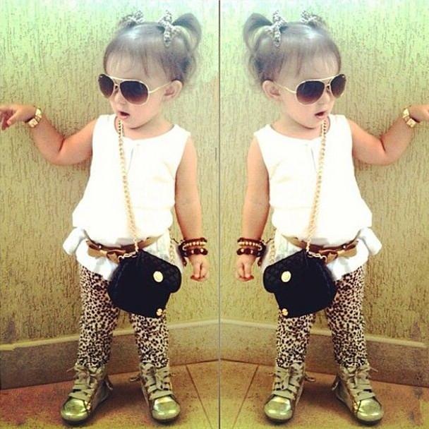 2015 new arrival summer girls sets t-shirt + pants + Belt suits leopard chiffon dress suit pants bow belt Kids Free Shipping