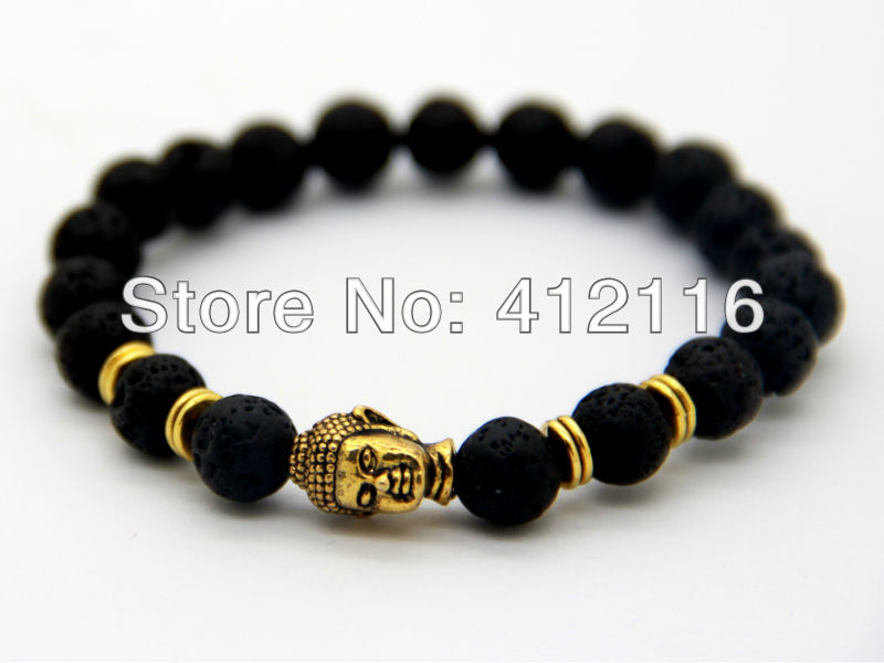 2014 Hot Sale Jewelry Black Lava Energy Stone Beads Gold Buddha Bracelets for Men's and Women's Gift(China (Mainland))