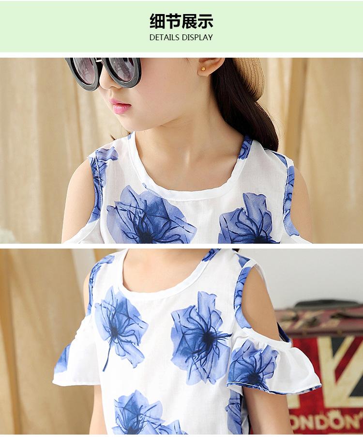 2016 new summer girl's clothing set girls blouses and skirts children's clothing set girl's summer dress 16366