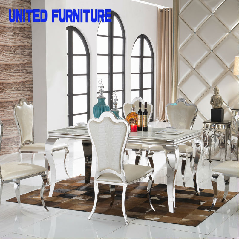 modern Nordic Dining Table AsiaSat brand made of stainless steel priced restaurant table marble dining table(China (Mainland))