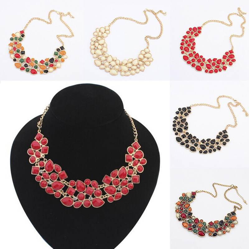 N284 Vintage Jewelry 5 Colors Resin Gem Patchwork Collar Necklace 2015 Choker Statement Necklaces For Women