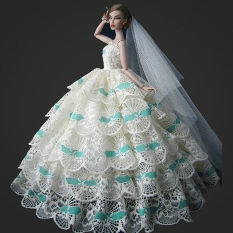 Inexperienced White Vogue Lovely Multi-layer Embroidery Lace Wedding ceremony Costume For Barbie Doll Youngsters Reward Accent for Barbie doll