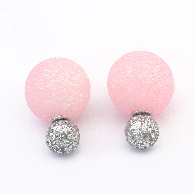 Summer Style Double Side Shining Frosted Spherical Earrings Exquisite Fashion Stud Earrings P114908 P113259 P113257<br><br>Aliexpress