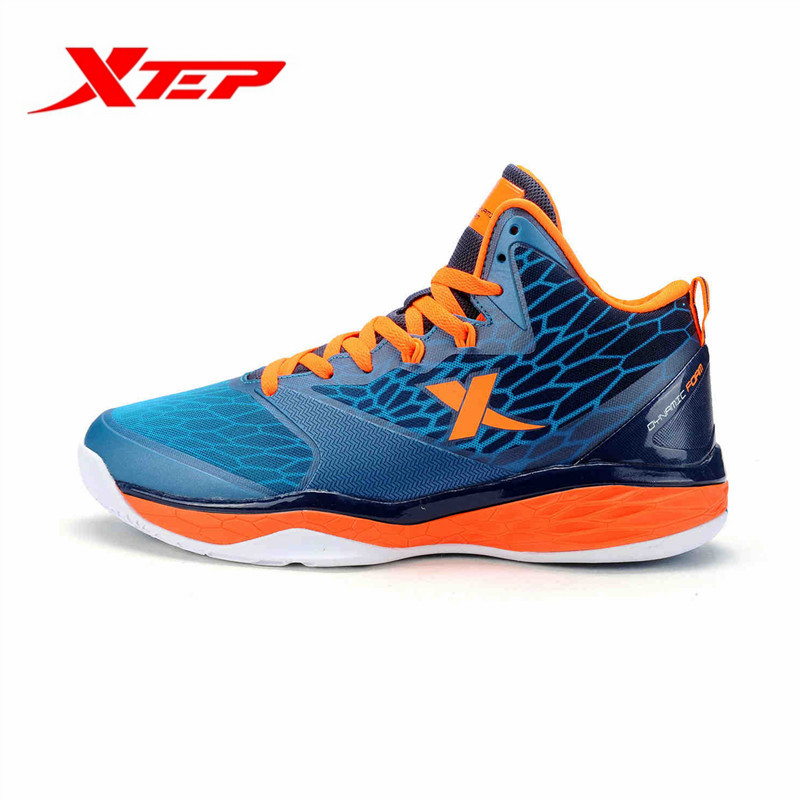 Xtep Men's Outdoor Anti-Slip Hard-Wearing Basketball Shoes High Patchwork Sneakers Male Sport Athletic Shoes 984119120886B4G19