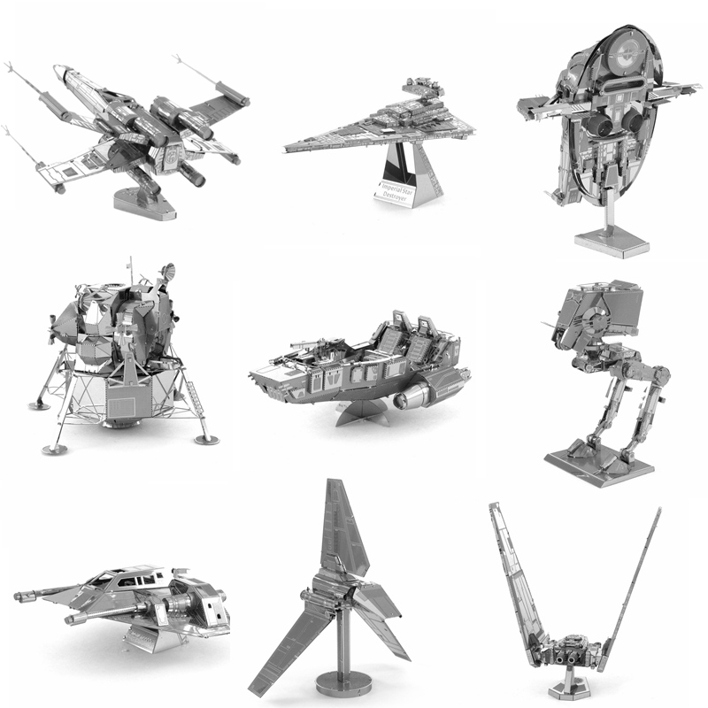 Star Wars Fighter 3D Metal Puzzles Earth Laser Cut Model Jigsaws DIY Gift Millennium Falcon X-Wing Destroyer Droid NANO Puzzles(China (Mainland))