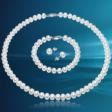 Brand Natural Freshwater Pearl Jewelry Sets For Women 7-8mm White Pearls Necklace Set 925 Silver Earrings Fine Jewelry(China (Mainland))