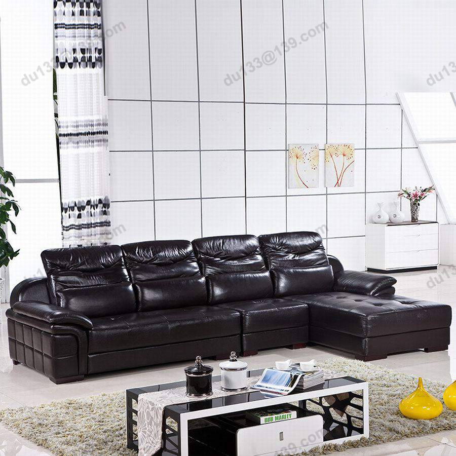 big modern latest novel home center relax black corner full grain leather couch sofa chaise. Black Bedroom Furniture Sets. Home Design Ideas