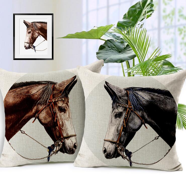 Hand-painted royal palm ma hong horse flax, cotton and linen pillow car sofa cushion set Home Textile(China (Mainland))