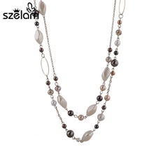 Buy 2015 Punk Woman Accessories Necklaces & Pendants Gold Color Chain Natural Stone Beads Necklace Gift Mothers Day SNE140254 for $4.80 in AliExpress store