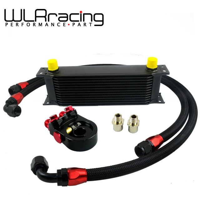 WLR Universal 13ROWS OIL COOLER ENGINE KIT AN10 oil Sandwich Plate Adapte with Thermostat 2PCS NYLON