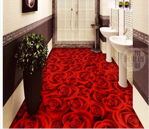 Wall sticker romantic rose 3d floor bathroom wallpaper for Bathroom 3d wallpaper