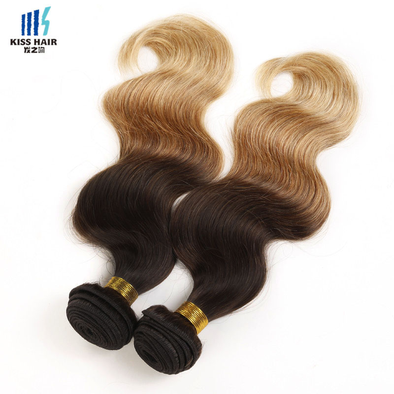 2 Bundle 12-26inch Ombre Human Hair Extensions T4/30/27 Peruvian Body Wave Ombre Weave Kisshair Fashion 3 tone Colored Remy Hair