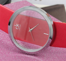 2015 new luxury fashion brand Calvin female form, simple surfaces. Stainless steel outer ring, fine leather strap. reloj mujer