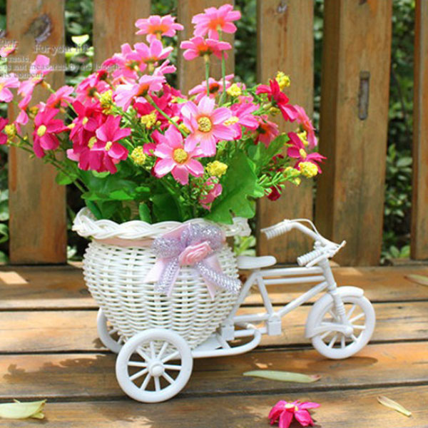 Laundry Basket White Bike Design Flower Basket Storage Container For Flower Plant Home Party Decoration Panier De Rangement(China (Mainland))
