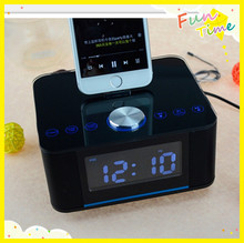 Hands-free call bluetooth Mobile phone base alarm clock lcd display fm radio U disk speaker for iphone(China (Mainland))