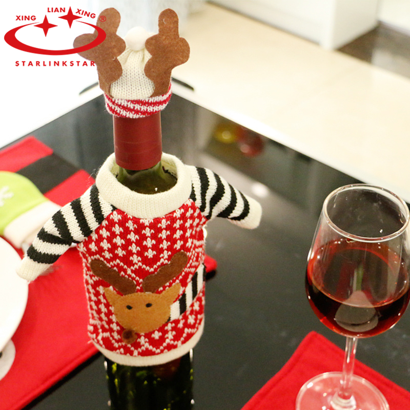 1PC 2016 Christmas Deer Elk Style Red Wine Champagne Dinner Party Xmas Table Decor Xmas DecorCovers Bag For New Year Christmas(China (Mainland))