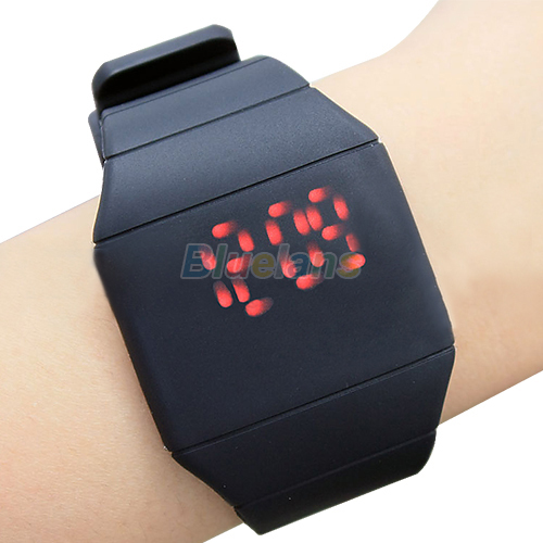 luxury Ultra-thin Fashion Mens Lady Women Touch Digital Red Led Silicone Sports Wrist Watch Silicone Band Novelty item 1FVB(China (Mainland))