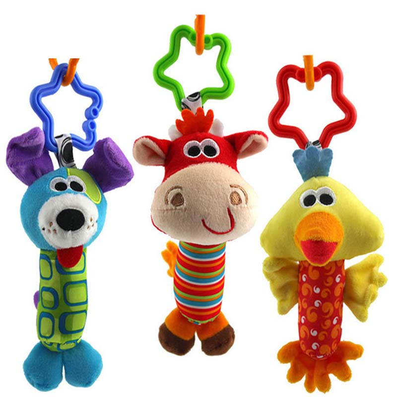 1PC Baby Toys 3 design Rattle Hand Bell Multifunctional Plush Toy Stroller Mobile Gifts 3M+ - HAPPYGO BABY store