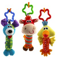 1PC  Baby Toys 3 design Rattle  Hand Bell Multifunctional Plush Baby Toy Stroller Mobile Gifts 3M+