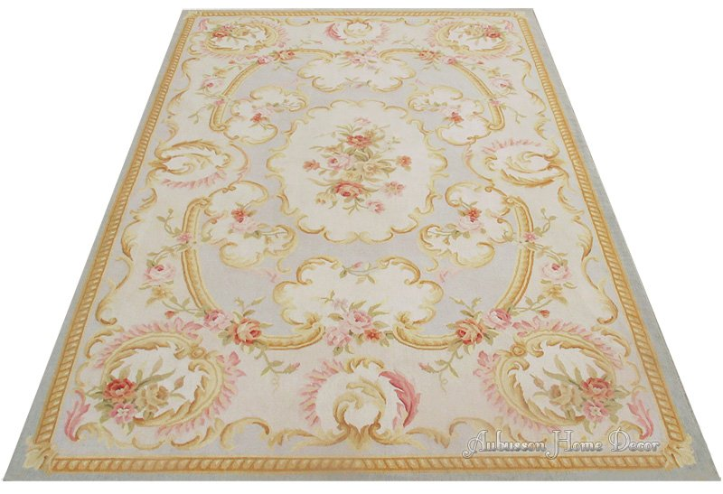 5 39 x8 39 wool hand woven shabby chic french style aubusson for Arredamento tappeti